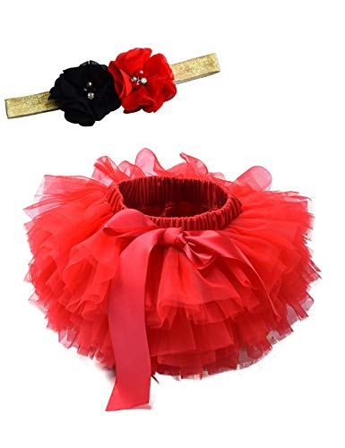 Baby Girls Tutu Bloomers Diaper Cover Cotton Tulle Bloomers and Headband Set Red 1-2 Years]()