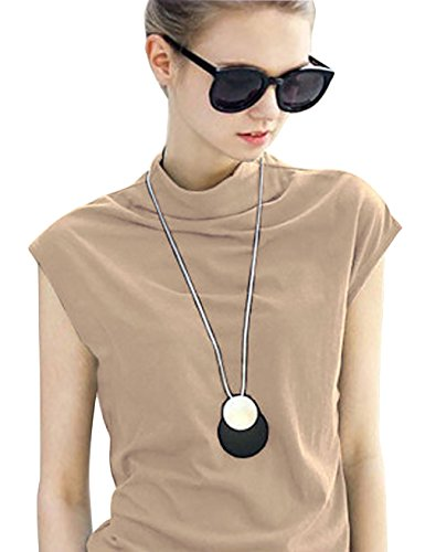 MML Women's Cotton Sleeveless Turtleneck Vest Plain T Shi...