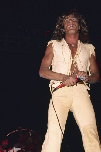 Roger Daltrey classic on stage in open shirt 1976 24x36 Poster
