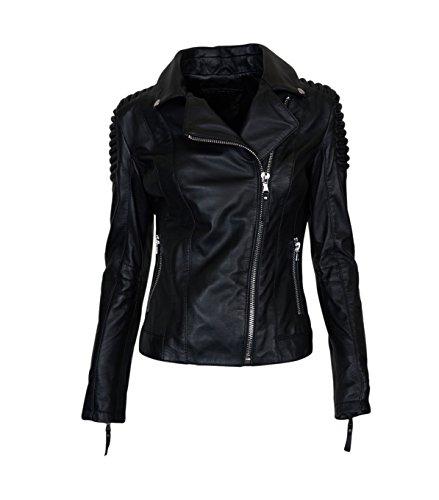Damen BE EDGY Lederjacke Stella in Schwarz - black black L