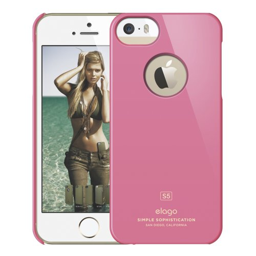 elago S5 Slim Fit Case for iPhone 5 + HD Professional Extreme Clear film included - Full Retail Packaging - Glossy Hot Pink
