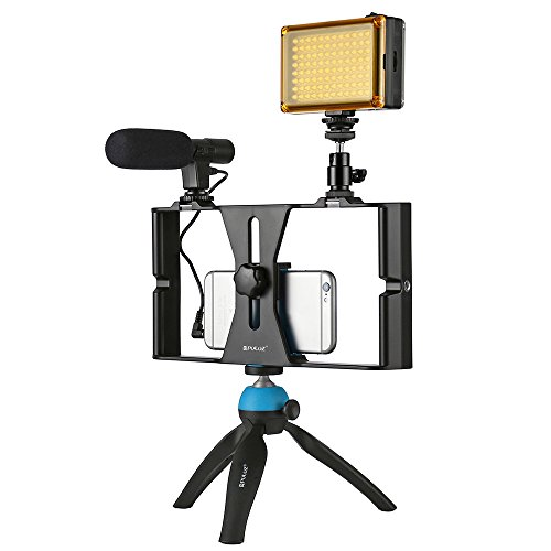 Docooler PULUZ PKT3023 Smartphone Handheld Filmmaking Video Rig + 96 LEDs LED Studio Light + Video Microphone + Mini Tripod Mount Kits with Cold Shoe Tripod Head for Outdoor Shooting Live Broadcast by Docooler