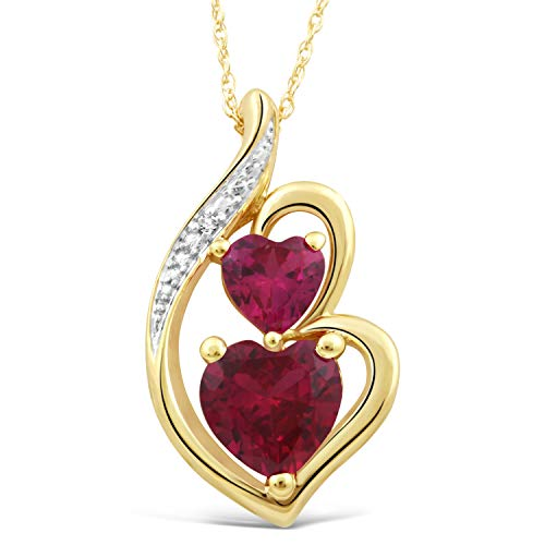Lab Created Ruby Heart Necklace in 10k Yellow Gold with Diamond Accent