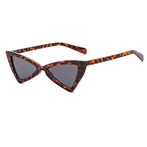 sol pequeñas de Gafas de Huicai Mujeres Gafas Hombres Triángulo moda Leopardo de gris sol XIx1wq4qY