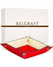 Belcraft Luni Vaciabolsillos de Piel Italiana, Hecho a Mano, Incluye Caja, Rojo (19x19 cm)