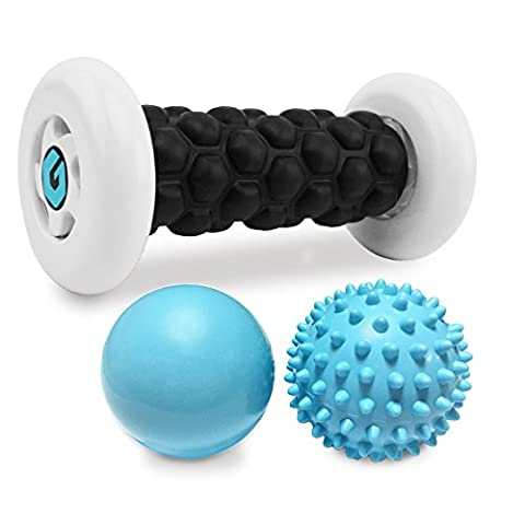 Plantar Fasciitis Foot Recovery Set - Includes Foot Massager Roller and 2 Cold Therapy Massage Balls - Pain Relief via Reflexology, Acupressure, Trigger Point Therapy, Mobility WOD, Myofascial (Trigger Point Therapy Hand)