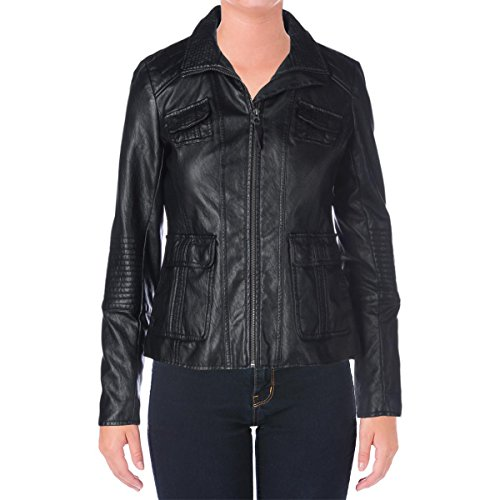 Lucky Brand Womens Faux Leather Center Zip Motorcycle Jacket Black S