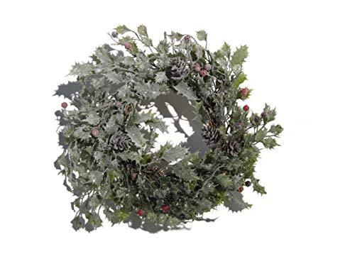 (JMB Christmas Wreath or Candle Ring with Snowy Glittered Holly Leaves, Pinecones and Red Berries 14