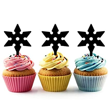 Shuriken Throwing Star Ninja Cupcake Cake Topper para tartas ...