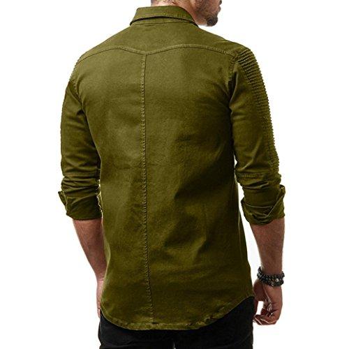 Yuxikong Mens' Coat,Casual Slim Fit Button Shirt with Pocket Long Sleeve Tops Blouse (Green, XL) by Yuxikong (Image #3)