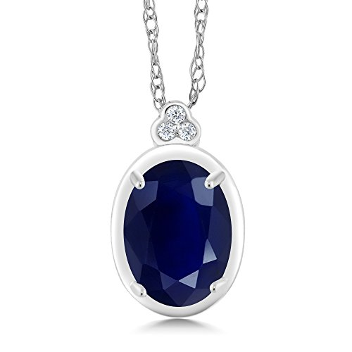 Gem Stone King 10K White Gold Diamond Accent Pendant with Chain Oval Blue Sapphire 1.04 cttw
