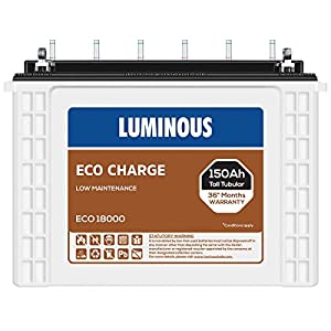 Luminous Eco Charge EC18000 150Ah Tall Tubular Battery (21+15 Months),White