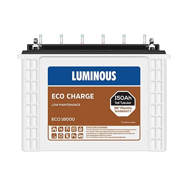 Luminous Eco Charge EC18000 150Ah Tall Tubular Battery (21+15 Months),White 2021 June 150Ah Tall Tubular Battery-New Innovation Warranty of 21+15Months- Best in this budget. Perfect choice for premium quality of Battery