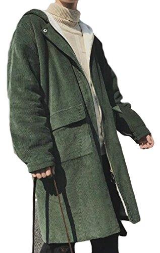 Hooded Happiness Men's amp;E Entrance Green H Coat Army Parka Solid Overcoat Zipper Fleece Corduroy xSIqgSrw