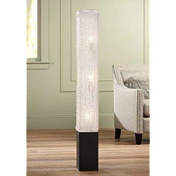 Modern Floor Lamp Noir Black Column Textured Clear Acrylic