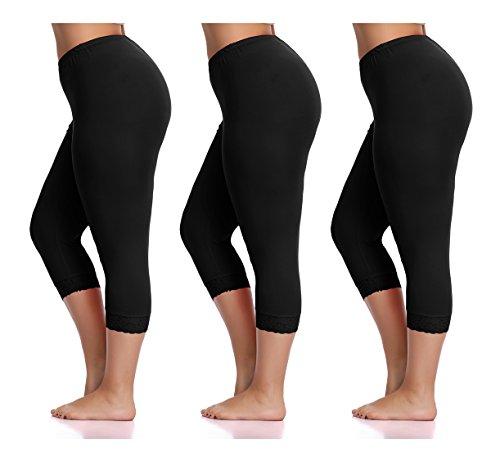 Raddzo Women's Plus Size Cotton Capri Cropped Leggings Lace Trim Soft Tights Pants, Black, XXXL