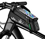 RockBros Top Tube Bag Phone, Bike Frame Bag Waterproof, Bicycle Phone Bag Fingerprint ID Compatible with iPhone X XS 6 7 Galaxy S7 S6 for MTB Road Mountain Bike 5.8/6.0 in (with Rain Cover)