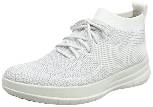 Mujer Zapatillas Uberknit Silver para Top Urban Metallic High Altas Sneaker on Multicolour Fitflop White Slip p7dwqzYY