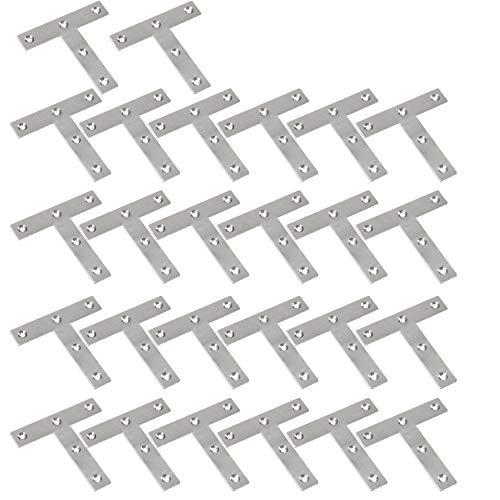 WEBI Heavy Duty Stainless Steel Corner Braces,T Shape Brackets, Joint Fastener, Shelf Support for Wood Furniture, Chests, Screens, Windows, Brushed Finish,26 Pcs,PMJM-T-80X80 by WEBI