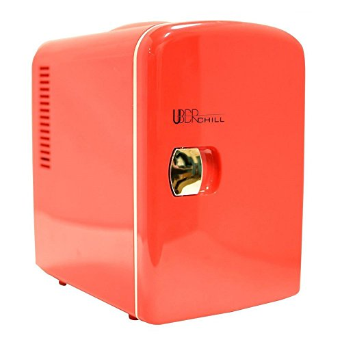 (Uber Appliance UB-CH1 Uber Chill Mini Fridge 6-can portable thermoelectric cooler and warmer mini fridge for bedroom, office or dorm (Uber Red))