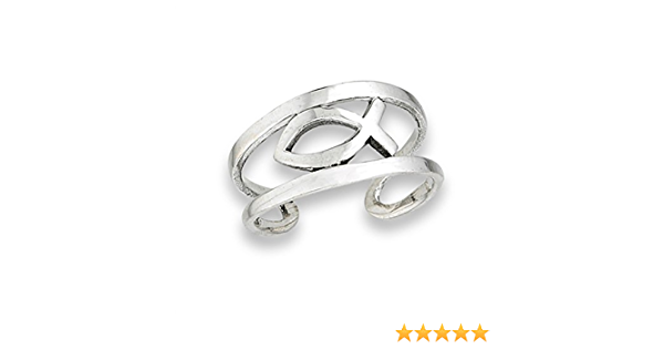Midi Icthus Religious .925 Sterling Silver Faith High Polish Toe Ring Band