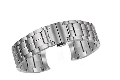 22mm Deluxe Stainless Steel Replacement Watch Band in Silver with Brushed Double Button Deployment Clasp