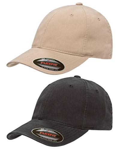 Flexfit Garment Washed Cotton Dad Hat | Low Profile, Stretch Flex Fit Ballcap w/Hat Liner 2-Pack Small/Medium Khaki & Black