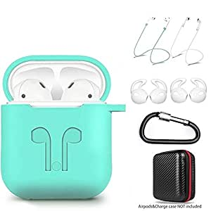 amasing Case 7 in 1 Accessories Kits Protective Silicone Cover and Skin for  Charging Case with Ear Hook Grips/Airpods Staps/Airpods