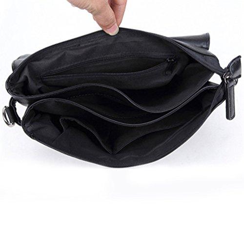 Jitong Herren PU Leder Aktentasche Vintage Businesstasche Notebook-Taschen Schultertasche Umhängetaschen Schwarz HBnqzmZ