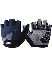 SCAVOR Padded Fingerless Mountain Biking Mesh Gloves - for Men Women Boys with Full Thumb Half Finger - Pefect for Sport Bike Fishing Cycling Wheelchair Use