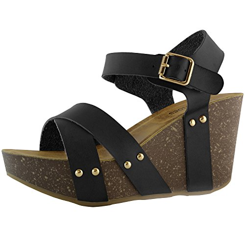 DailyShoes Chunky Slide On Wedge Heels High Sandals Ankle Strap Open Toe Platform Fashion Heeled Bows Summer Sandal Waverly-05 Black Pu 7 (High Heels With Bows On The Side)