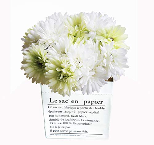 (JOEJISN Gerbera Artificial Flowers 14 pcs Artificial Daisy Flowers Real Touch Silk Chrysanthemum Flowers Mum Flowers Silk Daisies for Living Room Office Party Garden DIY Home Decor (White Green))