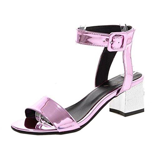 COOLCEPT Mujer Moda Tacon Medio Al Tobillo Sandalias Stylish Slingback Zapatos Purpura