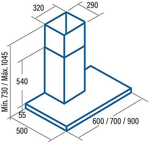 CATA S PLUS 700 X 645 m³/h De pared Acero inoxidable C - Campana (645 m³/h, Canalizado/Recirculación, D, A, B, 74 dB): Amazon.es: Grandes electrodomésticos