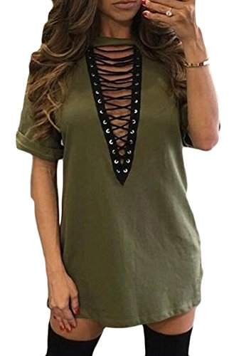Sleeve Neck Women's Mini Sexy Dress Short V Army Club Green Lace up Bodycon Jaycargogo 1Uq4xw0XX