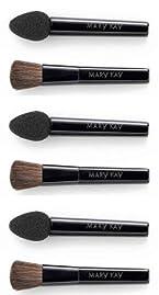 3 Packages Mary Kay Eye Applicators Sponge Tip Mineral Eye Color Shadow & Blending Brush for Black Magnetic Compact