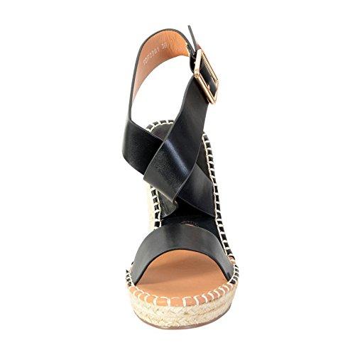 Sandalia Compensado La Divina Fábrica TDF2981 Negro Noir