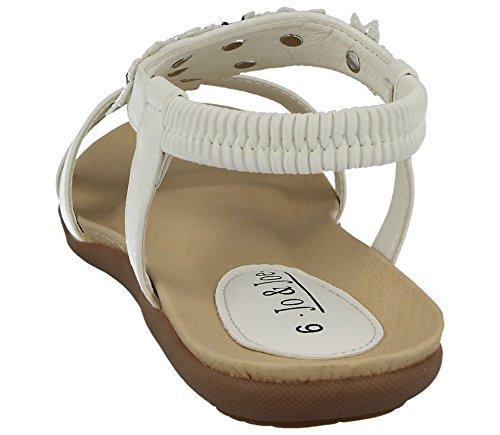 Jo & Joe Ladies Faux Leather Peep Toe Sling Back T-Bar Flower Fashion Flat Diamante Flip Flop Sandals Size 3-8 White arVER