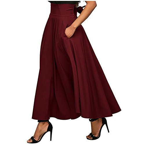 XIU*RONG Bolsillo Cintura Femenina Falda Falda Plisada Bolsillo Lateral Con Una Correa Red wine