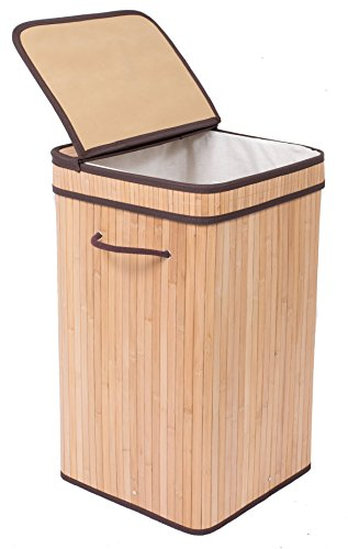 BirdRock Home Square Laundry Hamper with Lid and Cloth Liner | Bamboo | Natural | Easily Transport Laundry | Collapsible Hamper | String Handles