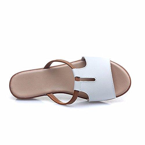 Cool Zapatillas Mujeres Estudiantes Inferior Suave Al Aire Libre En Verano Sandalias Versión Coreana Pendiente Inferior Grueso Con Una Palabra Arrastre White