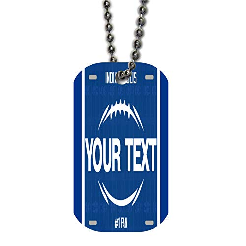 (BRGiftShop Personalize Your Own Football Team Indianapolis Single Sided Metal Military ID Dog Tag with Beaded Chain)