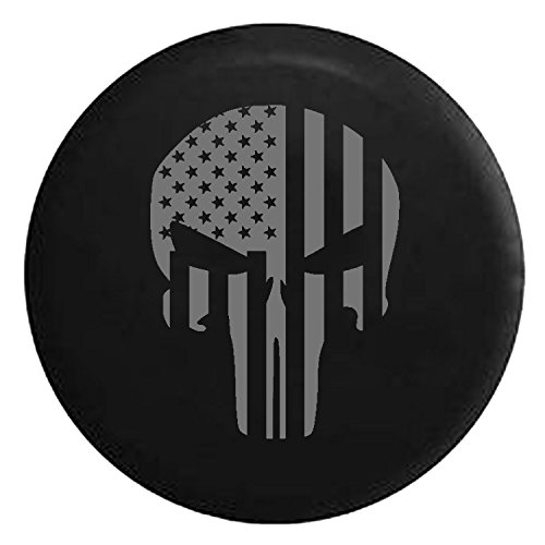 - American Flag Tactical Stars & Stripes Punisher Skull Spare Jeep Wrangler Camper SUV Tire Cover Gray Ink 33 in