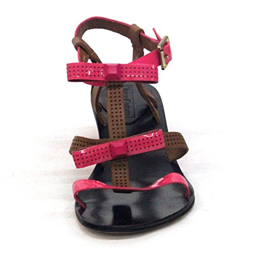 Juicy Couture T Wedge de tacón bajo Sandalia Talla 3,5 Multicolor - Pink-Brown