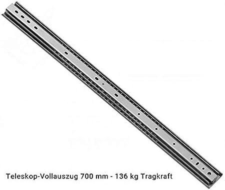 Vollauszug im eingezogenen Zustand 750 mm L/änge 2 x Schwerlastauszug Teleskopschienen L/änge 750 mm 136 kg Tragkraft mit Arretierung 53 mm Hoch