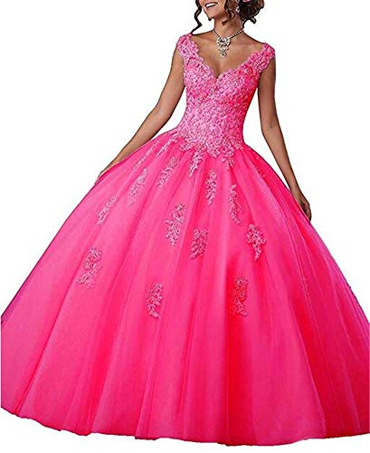 V-Neck Lace Appiliques Ball Gown 16 Quinceanera Backless Evening Dress Hot Pink