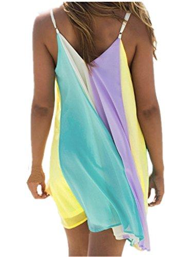 Mini Arcobaleno Maniche Vestito Mix Donna Estate Zanzea Senza neck Chiffon Spiaggia V 4z0xSqwU