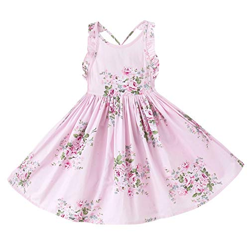 Girls Sun Dress (Big Girls' Vintage Floral Dress Backless Sundress,Pink)