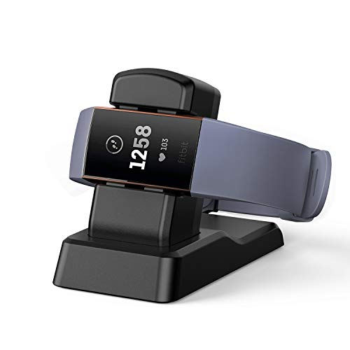 Fitbit Charge 3 Charger Stand, Kasmotion Replacement Charging Stand Charging Cradle Dock Adapter Holder Compatible with Fitbit Charge 3 ()