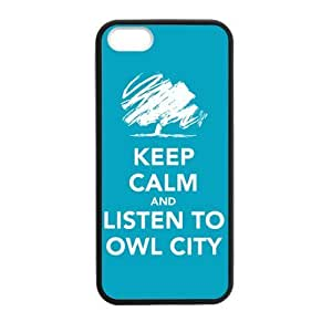 Customized iPhone Case Keep Calm and Listen to Owl City Printed Laser Rubber iPhone 5 5S Case Cover